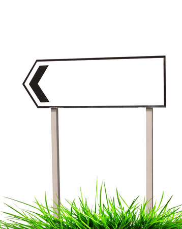 Traffic signs and grass on white photo