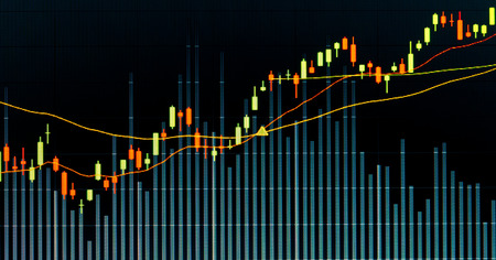 nasdaq: Financial data graph at stock exchange Stock Photo