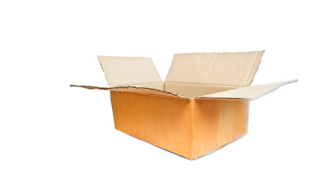 cardboard isolated on white photo