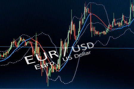 Data analyzing in foreign market  the charts and quotes on display  Analytics in pairs EUR  USD photo