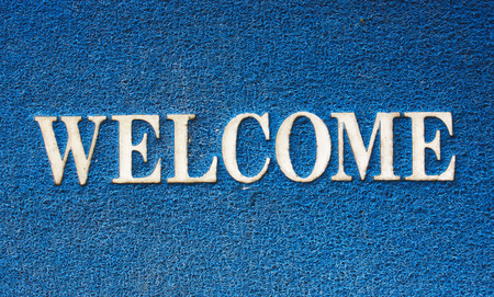 background of blue welcome carpet photo