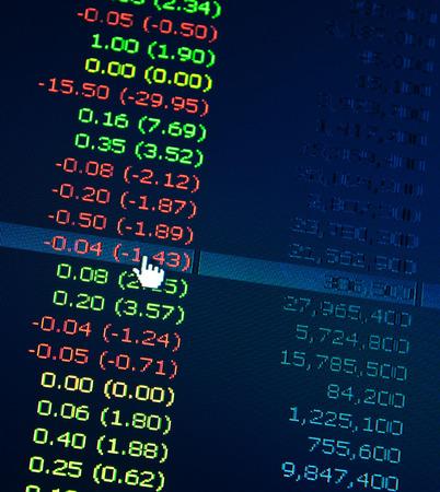 Financiële evenwicht Business bedrijf Aandelenkoersen in real time op de beurs Stockfoto