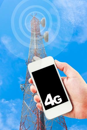 4G LTE wireless GPRS on digital telephone. photo