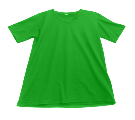 v neck: t-shirt template ready for further modification isolated on white with working path Stock Photo