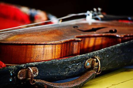 Still life wooden violin,music instrument. photo
