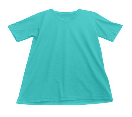 v neck: blue t shirt on a white background