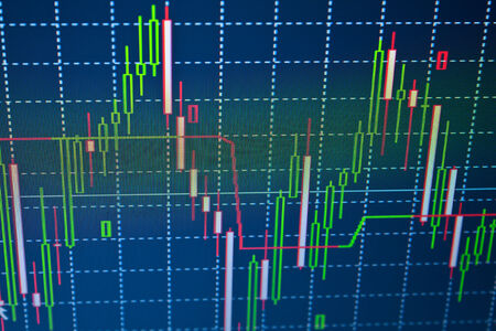 Stock exchange trade chart bar candles macro close-up. Background with stock diagram on monitor. photo