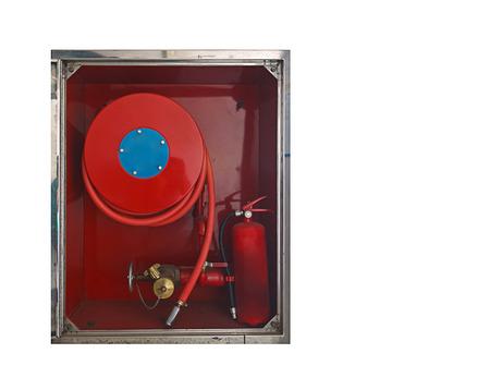 retardant: Manichetta antincendio imballato all'interno del contenitore di emergenza rosso, isolato su sfondo bianco
