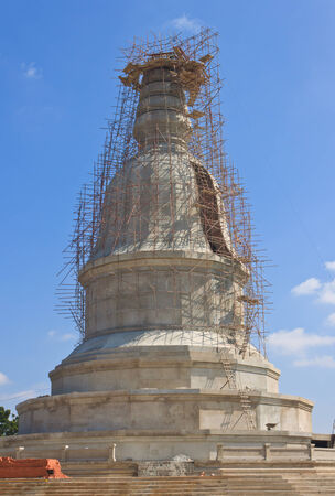 Wooden scaffolding for pagoda construction photo
