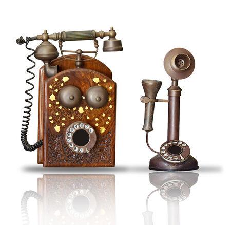 Alten Telefon auf weißem Standard-Bild - 34057147