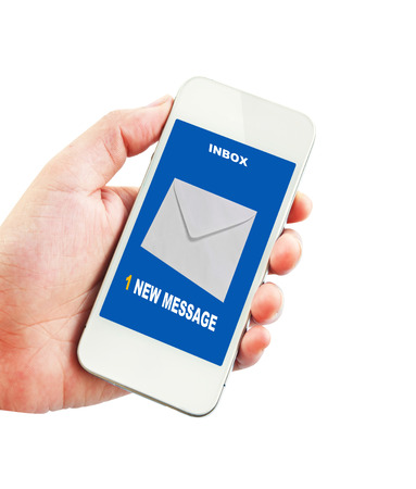 new message: 1 new message received on mobile phone. Stock Photo