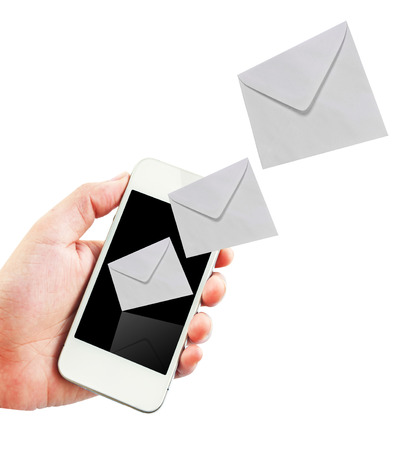 received: Mobile phone with new message received on white background. Stock Photo