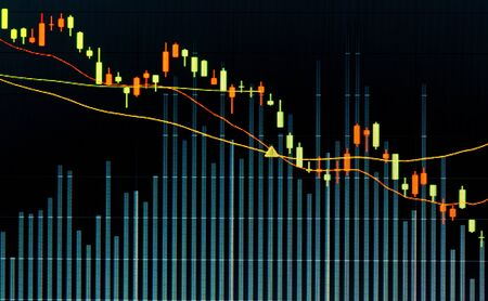 forex trading: Financial data graph at stock exchange Stock Photo