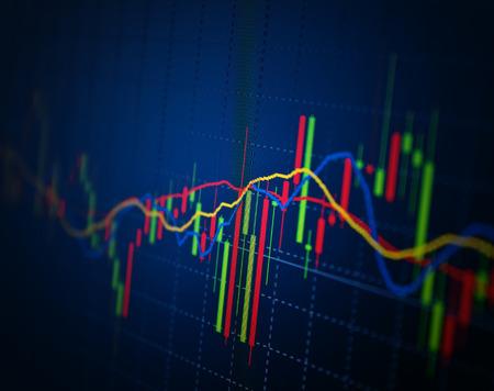 分析のモニターにカラフルな株価チャート。金融の概念。
