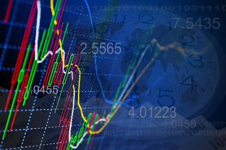 Zakelijke achtergrond. Markt Analyze.Bar grafieken, diagrammen, financiële cijfers. Forex.