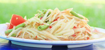 somtum: papaya salad or what we called Somtum in Thai Stock Photo