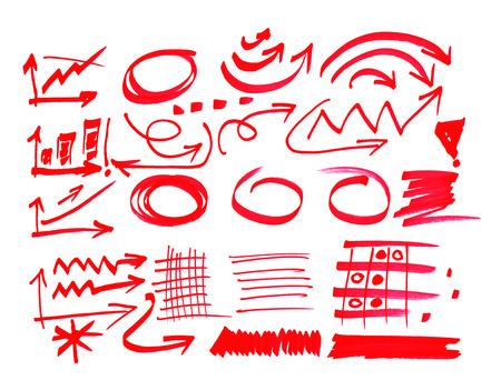 red pen: Red pen drawn marks