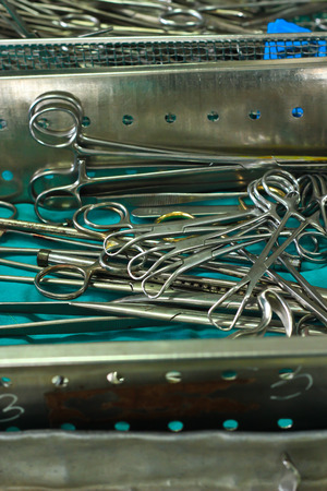 surgical tray: set of surgical instrument on sterile tray