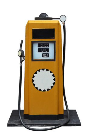 benzene: yellow vintage fuel pump isolated on white background