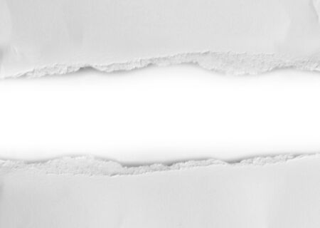 Piece of White Paper Ripped Isolated on White Background.