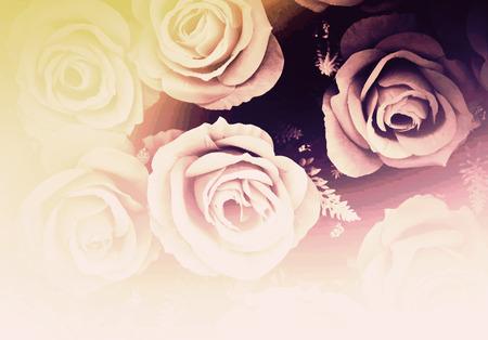 sfondo romantico: Sfondo romantico dell'annata con le rose - immagini d'epoca in stile effetto