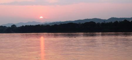 khan: Mekong River at sunset, Chiang Khan, Loei, Thailand.