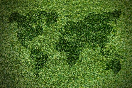 the americas: Dimensional Green World Map with USA Europe Africa the Americas and Asia as an international symbol of global communications as a three dimension illustration of an earth model, on grass backgrounds.