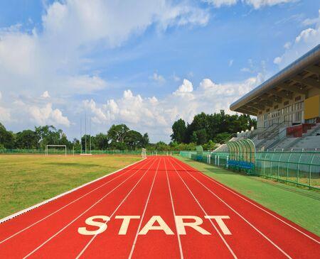 ways to go: Starting line at stadium football field
