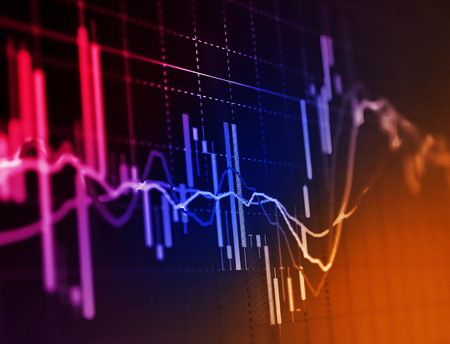 finance: Business screen stock exchange data graph background