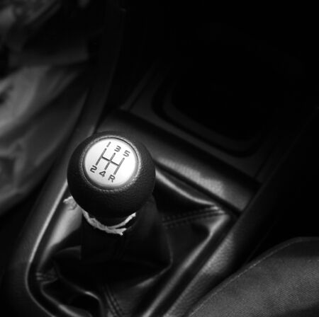 lever: Car gearbox lever; Manual transmission Stock Photo