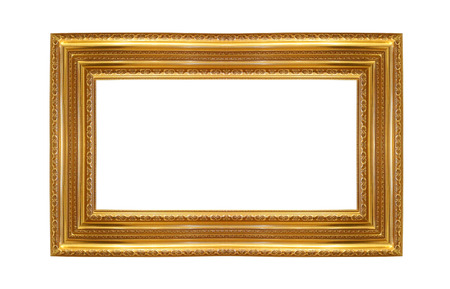 path to wealth: Antique gold frame isolated over white background Stock Photo