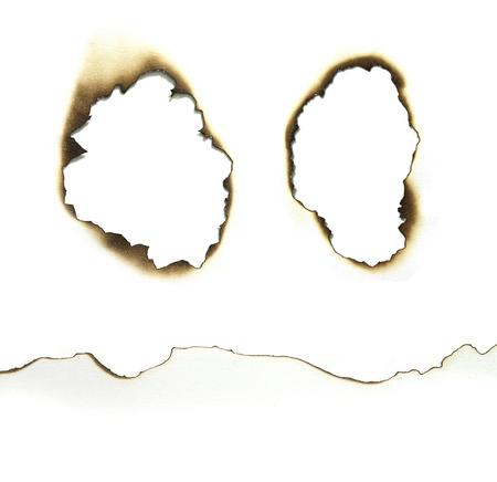 papel quemado: Papel quemado bordes conjunto aislado en blanco Foto de archivo