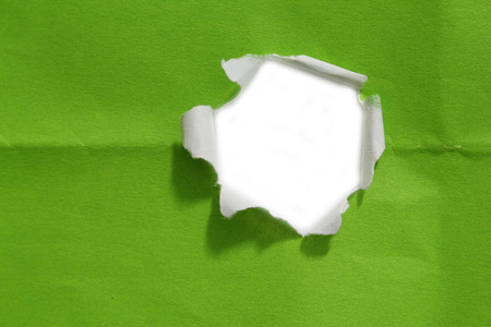 gaping: hole in white paper.