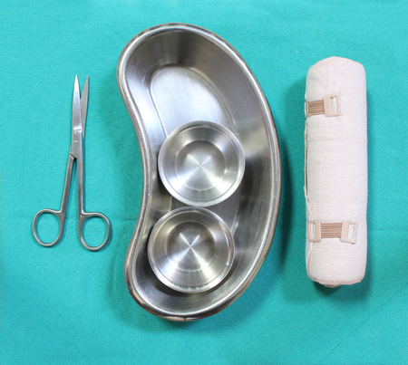 sterilized: set of surgical instrument on sterile table
