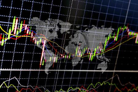 株式市場のグラフと棒グラフ ビジネス