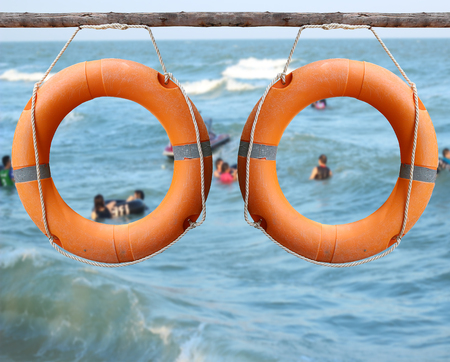 rescuer: Orange lifebuoy, the rescuer on the river.