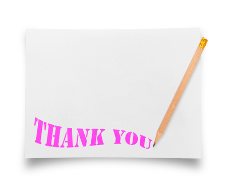 thanks: Thank you or thanks concept with ripped in paper. Stock Photo