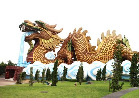 descendants: Large golden dragon statue Chinese style at Dragon descendants museum, Suphanburi, Thailand, on white background Stock Photo