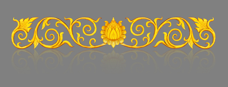 conner: old antique gold frame wood Thai style pattern isolated on gray background with clipping path. Stock Photo