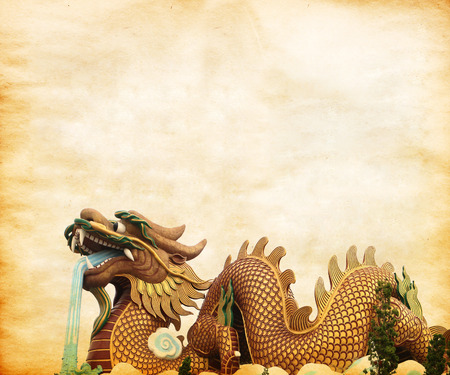 chinese new year dragon: Old paper with Dragon, BackgroundTextures Stock Photo