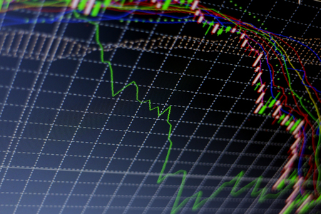 global rates: Stock exchange chart graph. Finance business background. Abstract stock market diagram candle bars trade. Stock Photo