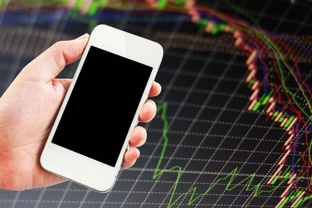 forex: Stock exchange chart graph. Finance business background. Abstract stock market diagram candle bars trade. Stock Photo