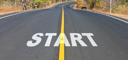 Weg van woord te beginnen voor het concept van het uitgangspunt. Stockfoto
