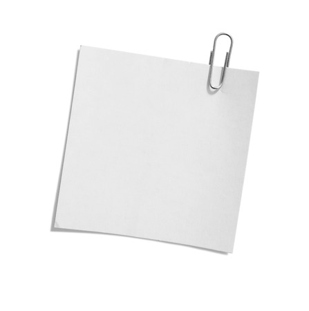 close up of a paper clip and paper on white background with clipping path