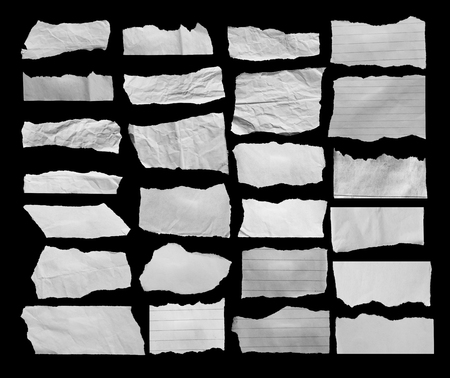 vertical dividers: ripped paper on black Stock Photo