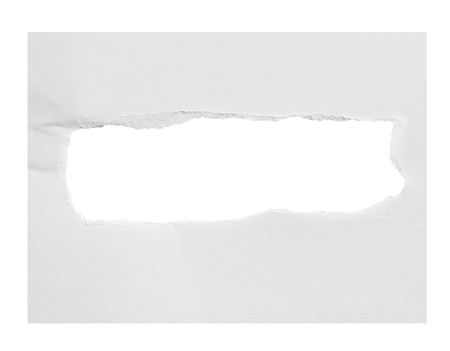 gash: Hole paper, isolated on white background with clipping path. Stock Photo