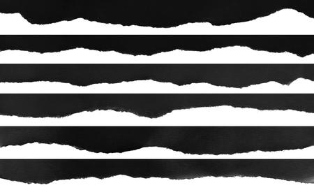 Ripped black and white paper, copy space Foto de archivo