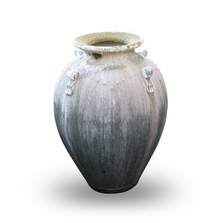 Old vase on white