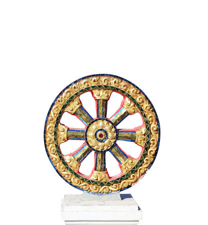 The Symbol of Dhamma, Wheel of life or Wheel of Dhamma (Dharmachakra)