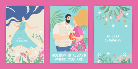 Set of vector greeting cards with summer illustrations of flowers and cute cartoon characters